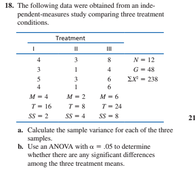 18. The following data were obtained from an inde- pendent-measures study comparing three treatment conditions. Treatment II II 3 8. N = 12 G = 48 EX = 238 3 6. 4 6. M = 4 M = 2 M = 6 T = 8 T = 24 T = 16 SS = 2 SS = 8 SS = 4 21 a. Calculate the sample variance for each of the three samples. b. Use an ANOVA with a = .05 to determine whether there are any significant differences among the three treatment means.