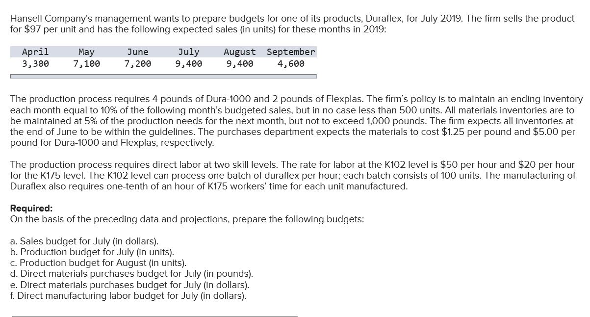 Hansell Company's management wants to prepare budgets for one of its products, Duraflex, for July 2019. The firm sells the product for $97 per unit and has the following expected sales (in units) for these months in 2019: July April August September 9,400 May 7,100 June 7,200 3, зее 9,400 4,600 The production process requires 4 pounds of Dura-1000 and 2 pounds of Flexplas. The firm's policy is to maintain an ending inventory each month equal to 10% of the following month's budgeted sales, but in no case less than 500 units. All materials inventories are to be maintained at 5% of the production needs for the next month, but not to exceed 1,000 pounds. The firm expects all inventories at the end of June to be within the guidelines. The purchases department expects the materials to cost $1.25 per pound and $5.00 per pound for Dura-1000 and Flexplas, respectively. The production process requires direct labor at two skill levels. The rate for labor at the K102 level is $50 per hour and $20 per hour for the K175 level. The K102 level can process one batch of duraflex per hour; each batch consists of 100 units. The manufacturing of Duraflex also requires one-tenth of an hour of K175 workers' time for each unit manufactured. Required: On the basis of the preceding data and projections, prepare the following budgets: a. Sales budget for July (in dollars). b. Production budget for July (in units) c. Production budget for August (in units). d. Direct materials purchases budget for July (in pounds) e. Direct materials purchases budget for July (in dollars). f. Direct manufacturing labor budget for July (in dollars).