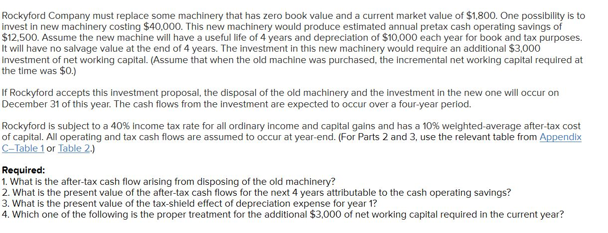 Rockyford Company must replace some machinery that has zero book value and a current market value of $1,800. One possibility is to invest in new machinery costing $40,000. This new machinery would produce estimated annual pretax cash operating savings of $12,500. Assume the new machine will have a useful life of 4 years and depreciation of $10,000 each year for book and tax purposes. It will have no salvage value at the end of 4 years. The investment in this new machinery would require an additional $3,000 investment of net working capital. (Assume that when the old machine was purchased, the incremental net working capital required at the time was $0.) If Rockyford accepts this investment proposal, the disposal of the old machinery and the investment in the new one will occur on December 31 of this year. The cash flows from the investment are expected to occur over a four-year period. Rockyford is subject to a 40% income tax rate for all ordinary income and capital gains and has a 10% weighted-average after-tax cost of capital. All operating and tax cash flows are assumed to occur at year-end. (For Parts 2 and 3, use the relevant table from Appendix C-Table 1 or Table 2.) Required: 1. What is the after-tax cash flow arising from disposing of the old machinery? 2. What is the present value of the after-tax cash flows for the next 4 years attributable to the cash operating savings? 3. What is the present value of the tax-shield effect of depreciation expense for year 1? 4. Which one of the following is the proper treatment for the additional $3,000 of net working capital required in the current year?