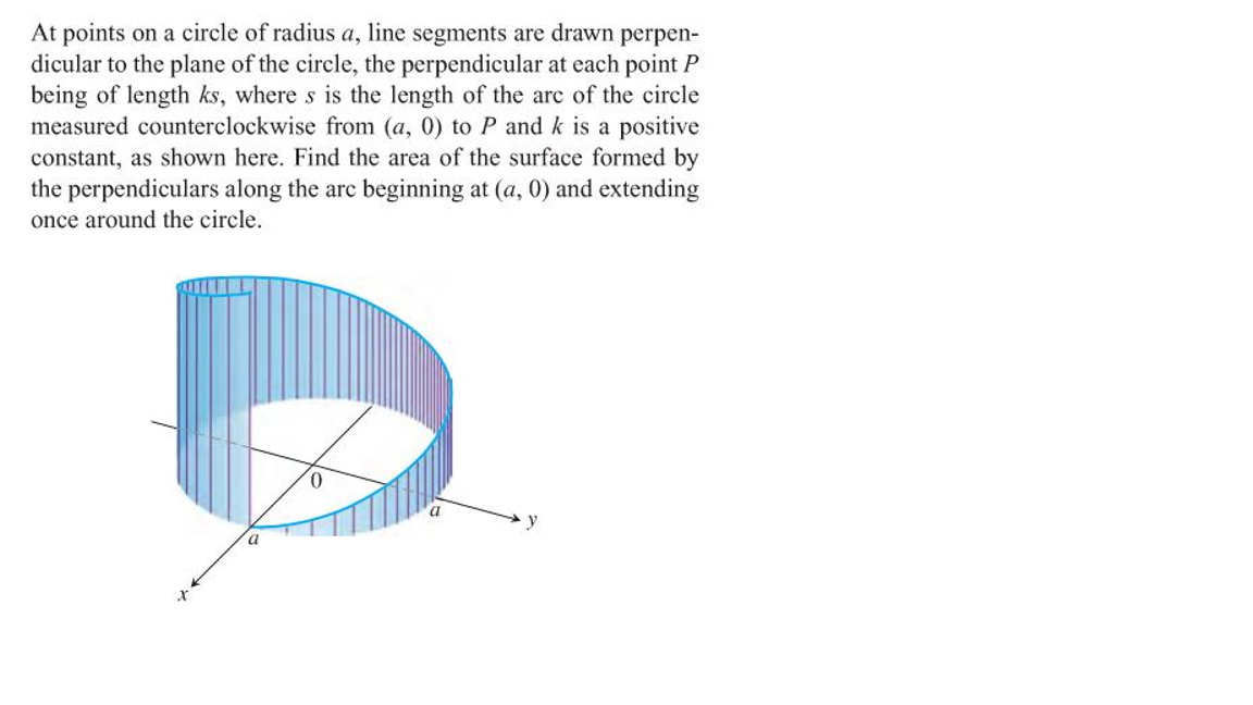 At points on a circle of radius a, line segments are drawn perpen- dicular to the plane of the circle, the perpendicular at each point P being of length ks, where s is the length of the are of the circle measured counterclockwise from (a, 0) to P and k is a positive constant, as shown here. Find the area of the surface formed by the perpendiculars along the arc beginning at (a, 0) and extending once around the circle.