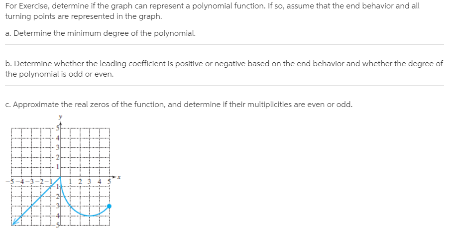 For Exercise, determine if the graph can represent a polynomial function. If so, assume that the end behavior and all turning points are represented in the graph. a. Determine the minimum degree of the polynomial. b. Determine whether the leading coefficient is positive or negative based on the end behavior and whether the degree of the polynomial is odd or even. C. Approximate the real zeros of the function, and determine if their multiplicities are even or odd. 5 –4 –3 –2–1