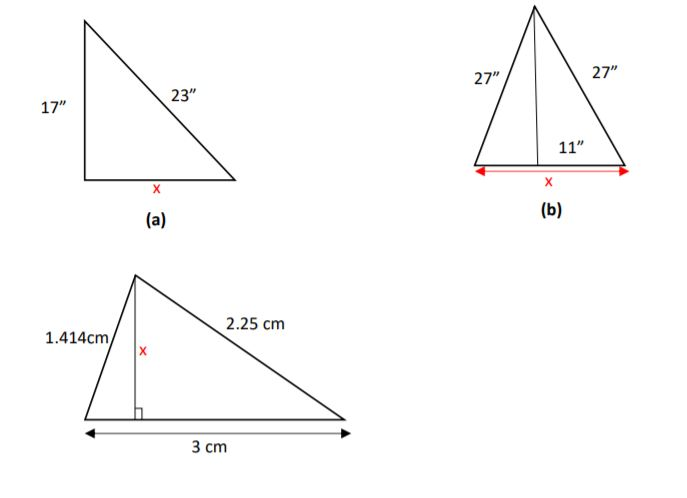 "27"" 27"" 23"" 17"" 11"" (b) (a) 2.25 cm 1.414cm, 3 ст"