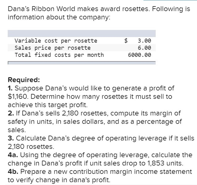 Dana's Ribbon World makes award rosettes. Following is information about the company: Variable cost per rosette Sales price per rosette Total fixed costs per month $ 3.00 6.00 6000.00 Required: 1. Suppose Dana's would like to generate a profit of $1,160. Determine how many rosettes it must sell to achieve this target profit. 2. If Dana's sells 2,180 rosettes, compute its margin of safety in units, in sales dollars, and as a percentage of sales. 3. Calculate Dana's degree of operating leverage if it sells 2,180 rosettes 4a. Using the degree of operating leverage, calculate the change in Dana's profit if unit sales drop to 1,853 units. 4b. Prepare a new contribution margin income statement to verify change in dana's profit.