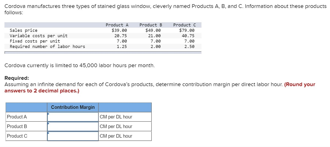 Cordova manufactures three types of stained glass window, cleverly named Products A, B, and C. Information about these products follows: Product A Product B Product C Sales price Variable costs per unit Fixed costs per unit Required number of labor hours $39.00 $49.00 $79.00 20.75 21.00 40.75 7.00 7.00 7.00 1.25 2.00 2.50 Cordova currently is limited to 45,000 labor hours per month Required: Assuming an infinite demand for each of Cordova's products, determine contribution margin per direct labor hour. (Round your answers to 2 decimal places.) Contribution Margin Product A CM per DL hour Product B CM per DL hour Product C CM per DL hour