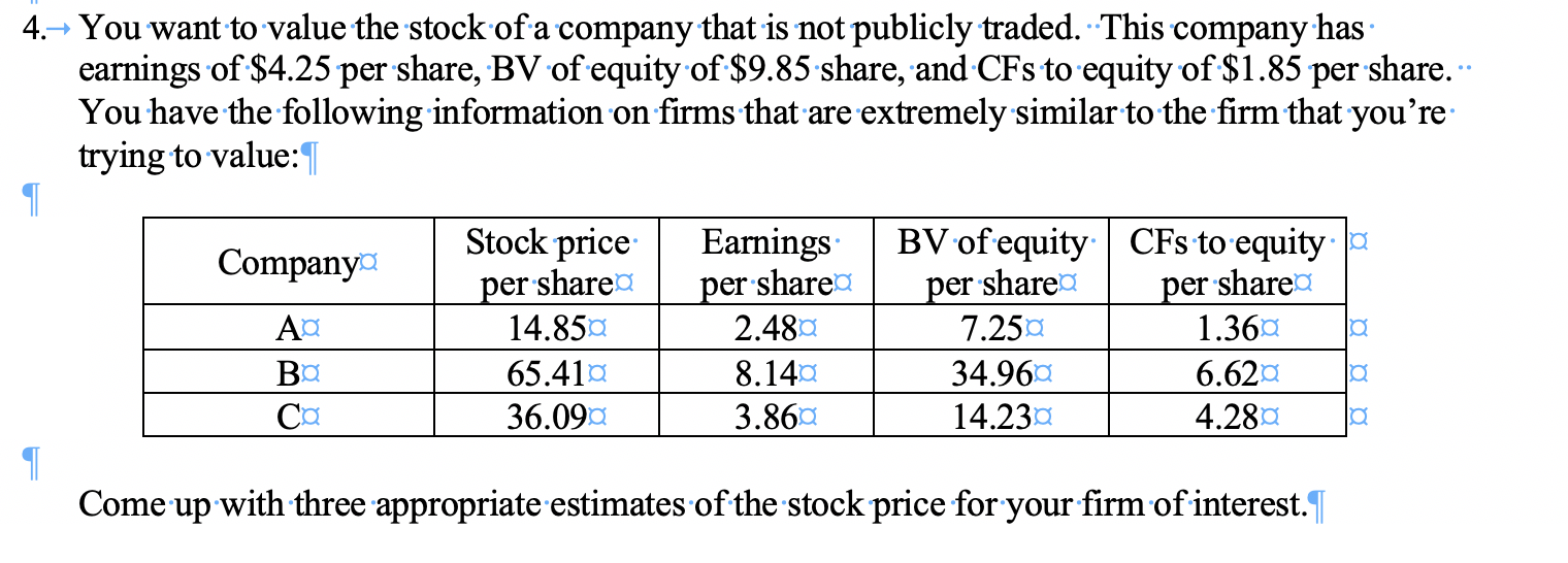 You want to value the stock of a company that is not publicly traded. This company has earnings of $4.25 per share, BV of equity of $9.85 share, and CFs to equity of $1.85 per share.- You have the following information on firms that are extremely similar to the firm that you're trying to value: 4. Stock price per share 14.85a BV of equity per sharea 7.25 Earnings per sharea 2.48 CFs to equity share Company per 1.36 AC 8.14 Вa Cа 65.41 6.62 34.96 3.86 36.09 14.23 4.28 Come up with three appropriate estimates of the stock price for your firm of interest.