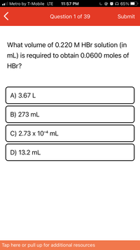Answered What Volume Of 0 220 M Hbr Solution In Bartleby