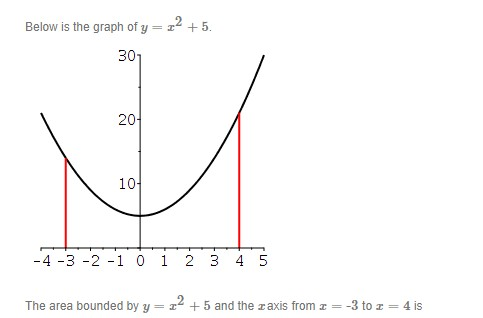 Below is the graph of y = z2 +5. 301 2어 1어 -4 -3 -2 -1 0 i 2 3 4 5 The area bounded by y = z2 +5 and the zaxis from z = -3 to z = 4 is