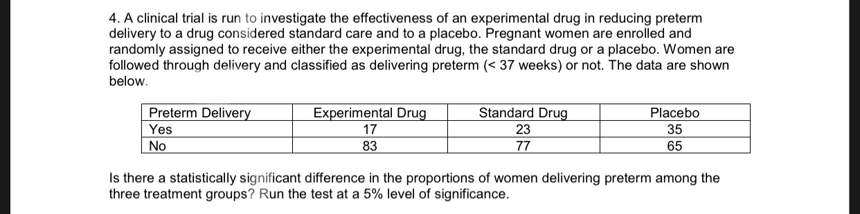 4. A clinical trial is run to investigate the effectiveness of an experimental drug in reducing preterm delivery to a drug considered standard care and to a placebo. Pregnant women are enrolled and randomly assigned to receive either the experimental drug, the standard drug or a placebo. Women are followed through delivery and classified as delivering preterm (37 weeks) or not. The data are shown below Experimental Drug Standard Drug Preterm Delivery Placebo Yes 17 23 35 No 83 77 65 Is there a statistically significant difference in the proportions of women delivering preterm among the three treatment groups? Run the test at a 5% level of significance