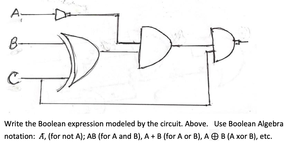 B- Write the Boolean expression modeled by the circuit. Above. Use Boolean Algebra notation: A, (for not A); AB (for A and B), A + B (for A or B), A OB (A xor B), etc.