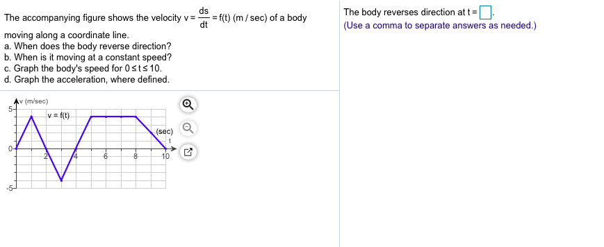 ds The body reverses direction at t (Use a comma to separate answers as needed.) The accompanying figure shows the velocity f(t) (m/sec) of a body dt moving along a coordinate line. a. When does the body reverse direction? b. When is it moving at a constant speed? c. Graph the body's speed for 0sts 10. d. Graph the acceleration, where defined v (m/sec) 5- v f(t) (sec) Q 0- 10