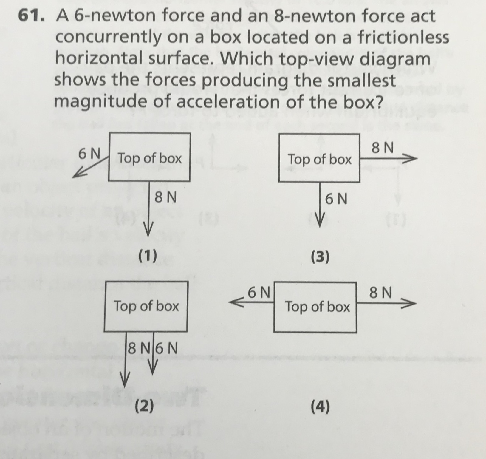 61. A 6-newton force and an 8-newton force act concurrently on a box located on a frictionless horizontal surface. Which top-view diagram shows the forces producing the smallest magnitude of acceleration of the box? 8 N 6 N Top of box Top of box 8 N 6N V (1) (3) 6N Top of box 8 N Top of box 8 N6 N (2) (4) IN
