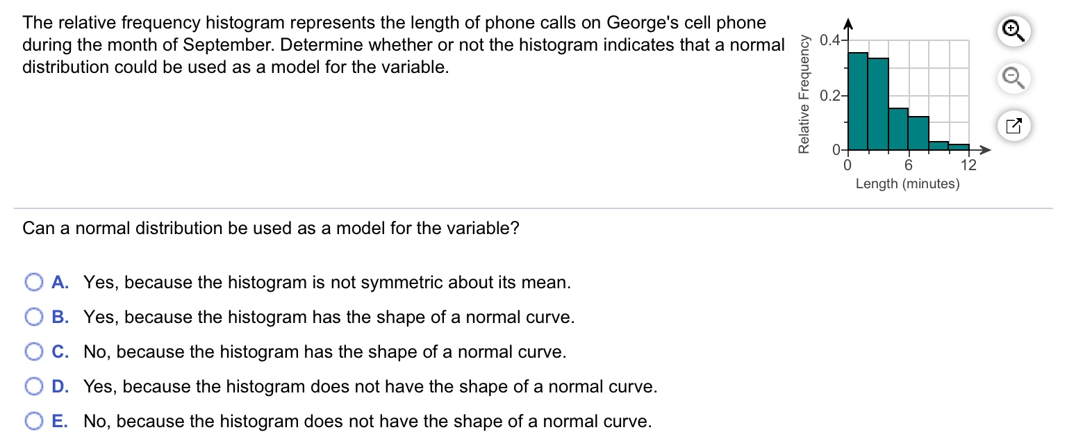 The relative frequency histogram represents the length of phone calls on George's cell phone during the month of September. Determine whether or not the histogram indicates that a normal 0.4- distribution could be used as a model for the variable. 0.2- 0- 6. 12 Length (minutes) Can a normal distribution be used as a model for the variable? O A. Yes, because the histogram is not symmetric about its mean. B. Yes, because the histogram has the shape of a normal curve. C. No, because the histogram has the shape of a normal curve. D. Yes, because the histogram does not have the shape of a normal curve. O E. No, because the histogram does not have the shape of a normal curve. Relative Frequency