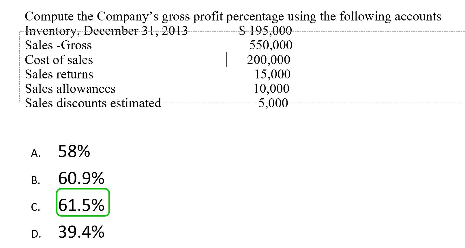 Compute the Company's gross profit percentage using the following accounts -Inventory, December 31, 2013 Sales -Gross $195,000 550,000 200,000 15,000 10,000 5,000 Cost of sales Sales returns Sales allowances Sales discounts estimated 58% А. 60.9% В. 61.5% C. 39.4% D.