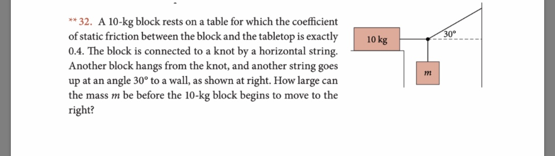 *32. A 10-kg block rests on a table for which the coefficient of static friction between the block and the tabletop is exactly 0.4. The block is connected to a knot by a horizontal string. Another block hangs from the knot, and another string goes up at an angle 30° to a wall, as shown at right. How large can the mass m be before the 10-kg block begins to move to the right? 30° 10 kg m