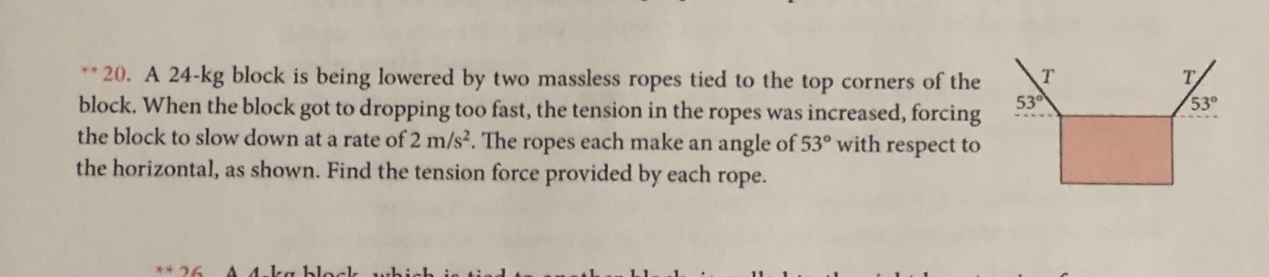 20. A 24-kg block is being lowered by two massless ropes tied to the top corners of the block. When the block got to dropping too fast, the tension in the ropes was increased, forcing the block to slow down at a rate of 2 m/s2. The ropes each make an the horizontal, as shown. Find the tension force provided by each rope. ** т Т. 530 53° angle of 53° with respect to A 4.ka hlockk whi 26