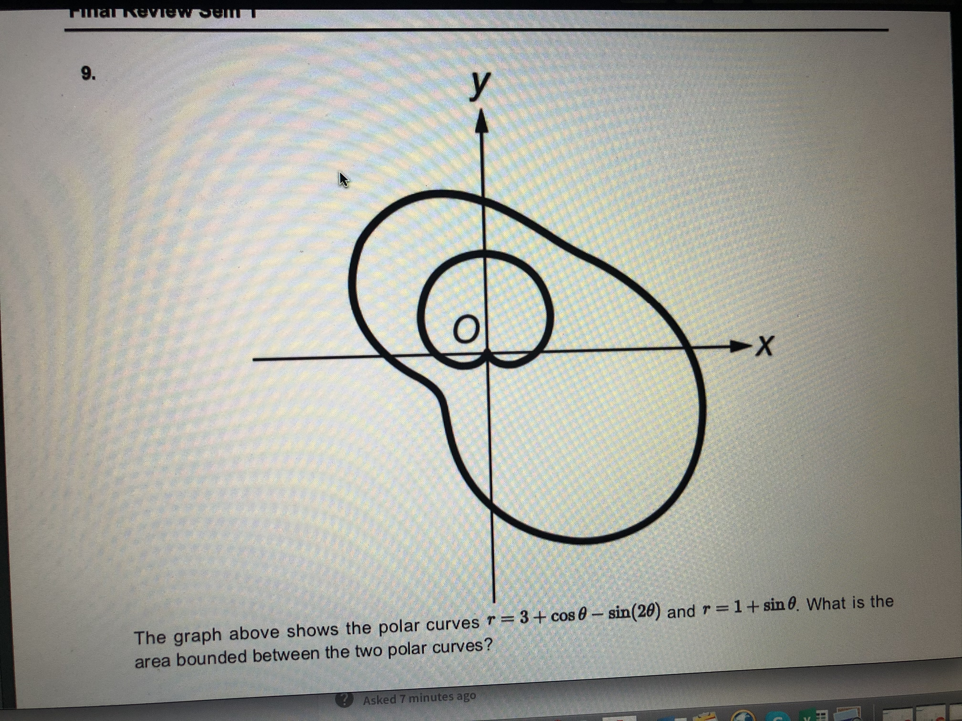 MALAAVIRU 9. The graph above shows the polar curves r=3+ cos 0- sin(20) and r=1+sin 0. What is the area bounded between the two polar curves? Asked 7 minutes ago