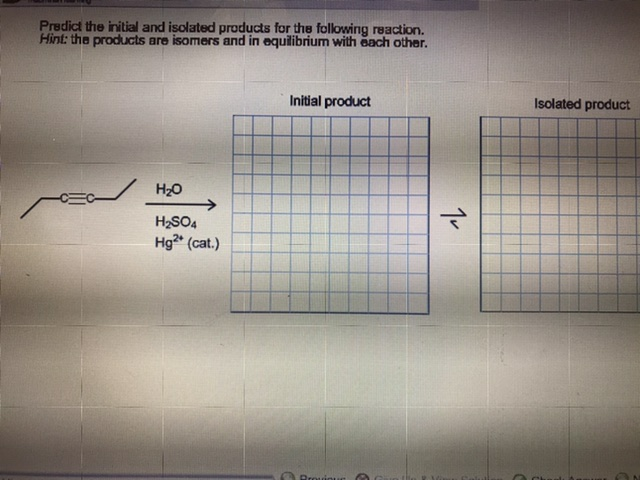 Predict the initial and isolated products for the following reaction. Hint: the products are isomers and in equilibrium with each other. Isolated product Initial product Но H2SO4 Hg (cat.) Prouioue 1v