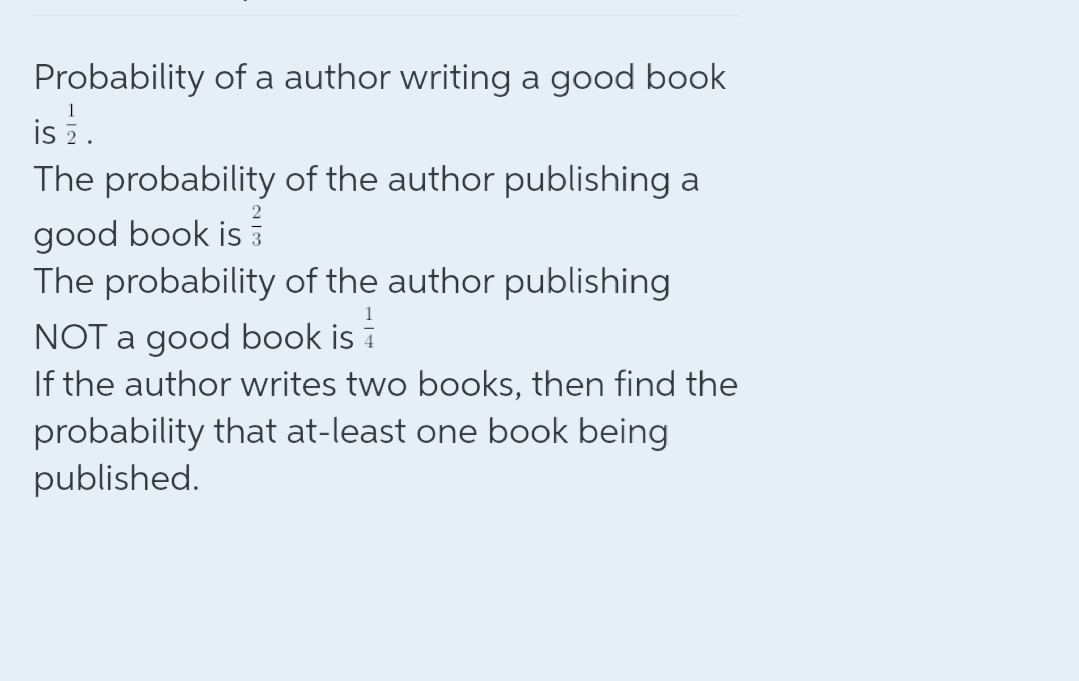 Probability of a author writing a good book isi The probability of the author publishing a good book is The probability of the author publishing NOT a good book is i If the author writes two books, then find the probability that at-least one book being published.