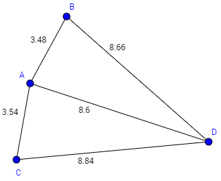 B 3.48 8.66 A 8.6 3.54 8.84 C