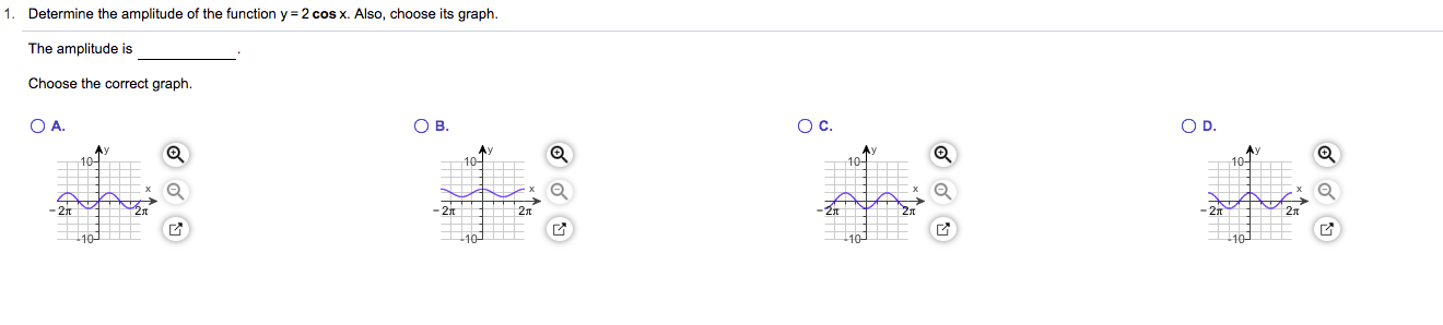 Determine the amplitude of the function y 2 cos x. Also, choose its graph The amplitude is Choose the correct graph. O C. О . O D. ов. Ay 10 10