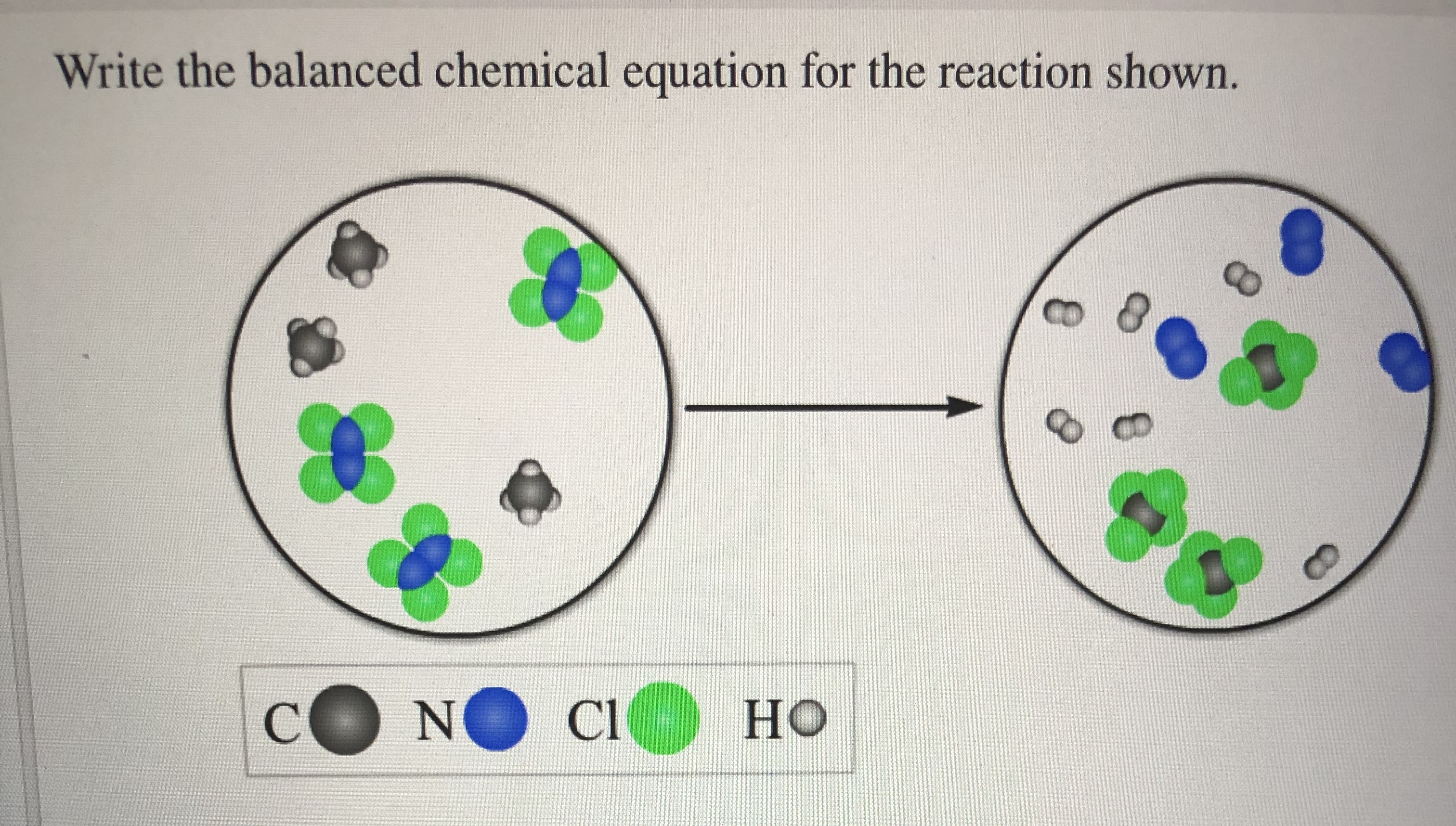 Write the balanced chemical equation for the reaction shown. 8 CO HO CO NO CI