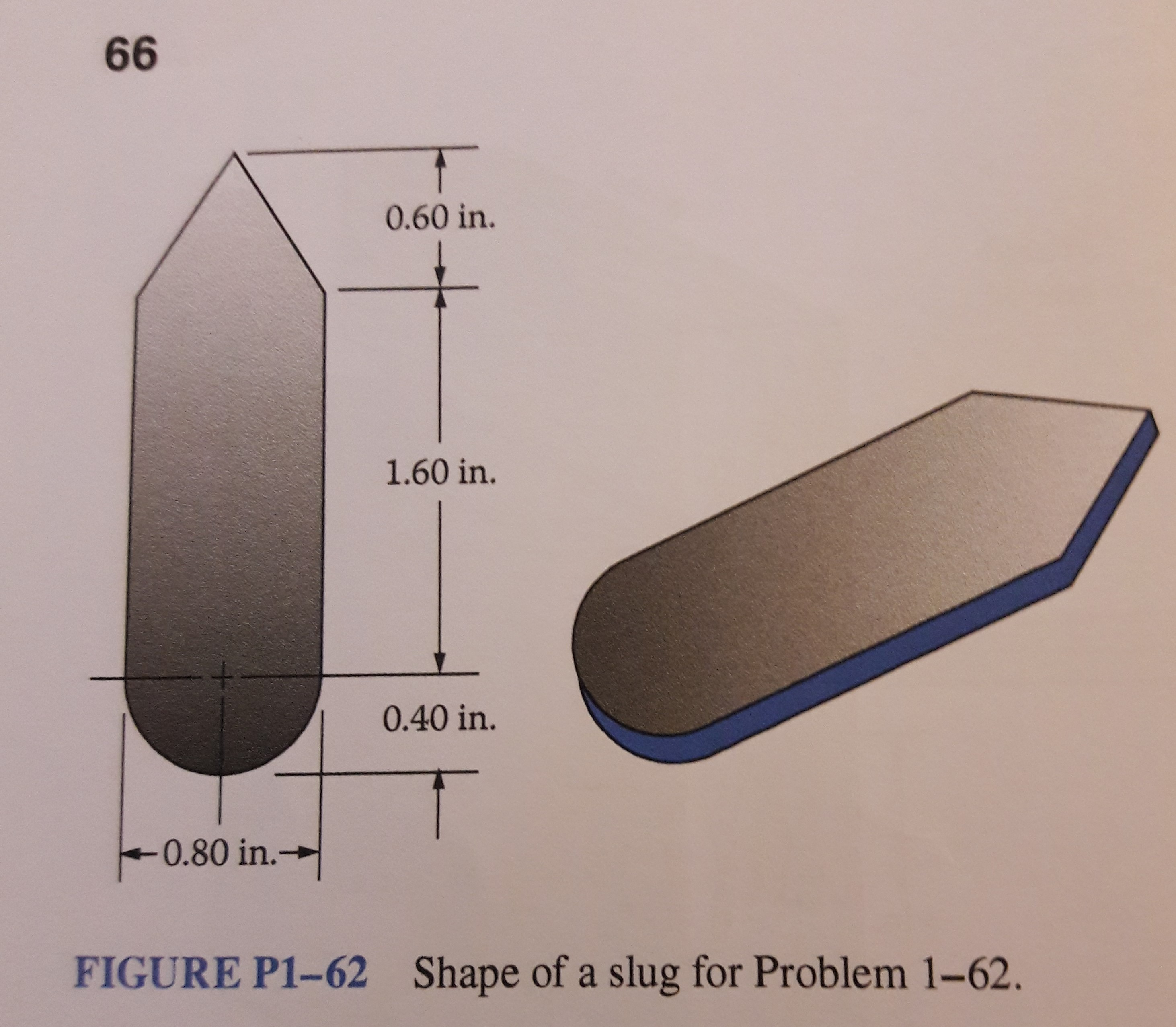 66 0.60 in. 1.60 in. 0.40 in. -0.80 in.- → Shape of a slug for Problem 1-62. FIGURE P1-62