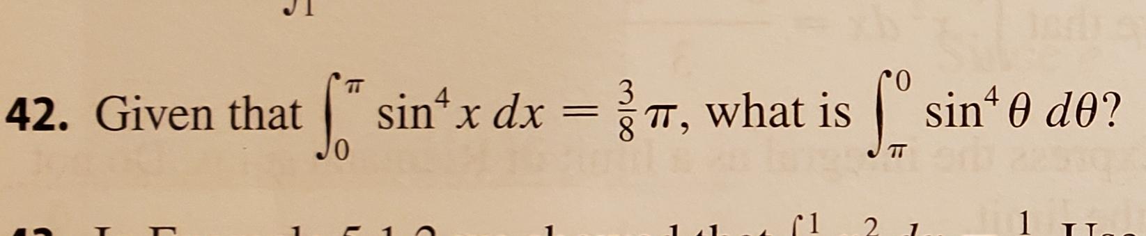 sin x dx T, what is sin 0 de? 4 TT