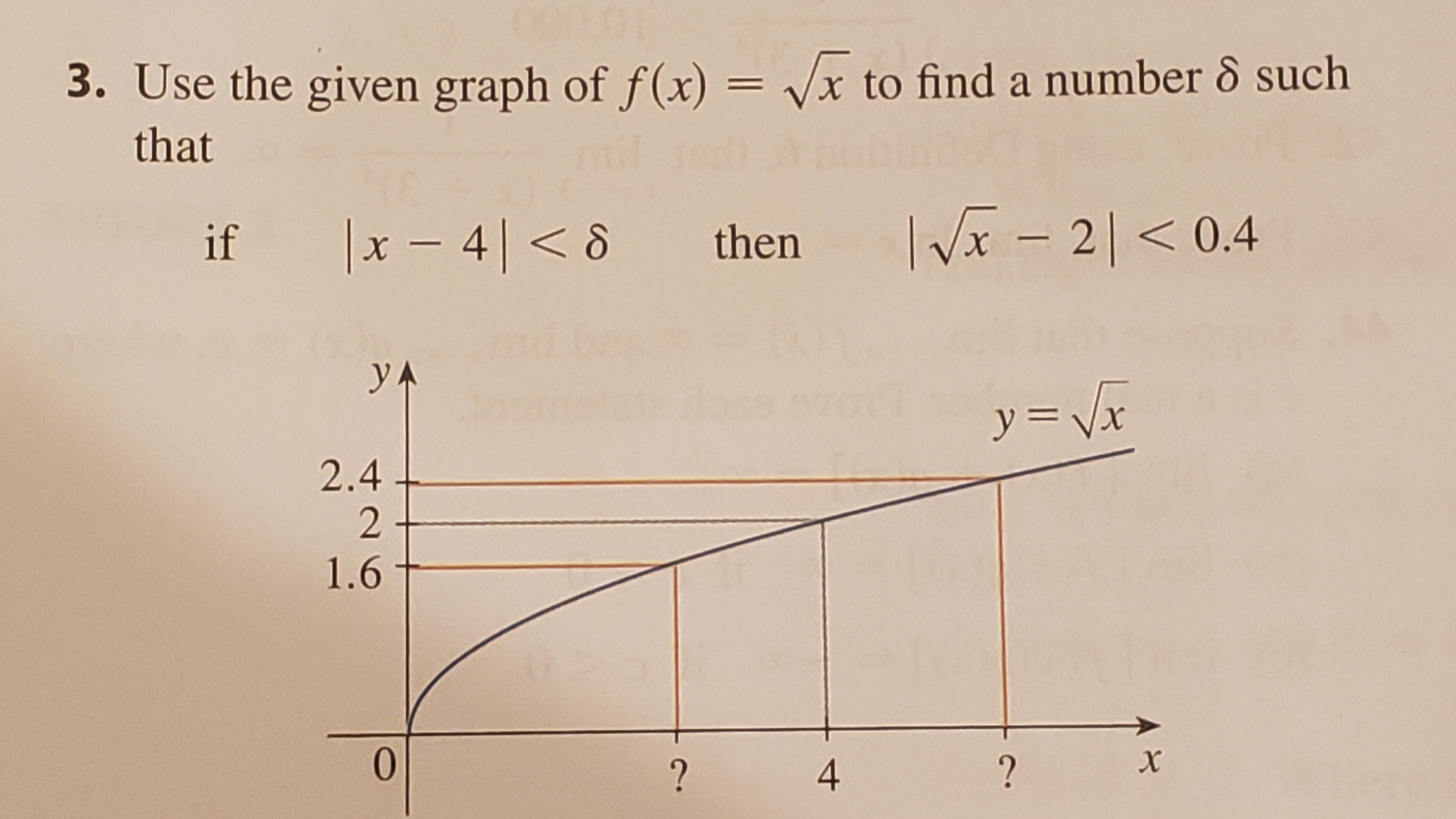 3. Use the given graph of f(x) = vx to find a number 8 such that IVx - 20.4 x48 then if yA y Vr 2.4 2 1.6 0 x ? ? 4