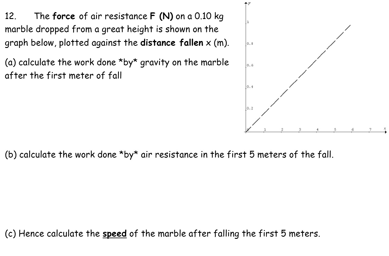 The force of air resistance F (N) on a 0.10 kg marble dropped from a great height is shown on the graph below, plotted against the distance fallen x (m). 12. o.8 (a) calculate the work done *by* gravity on the marble 0.6 after the first meter of fall 0.4 l0.2 (b) calculate the work done *by* air resistance in the first 5 meters of the fall. (c) Hence calculate the speed of the marble after falling the first 5 meters.