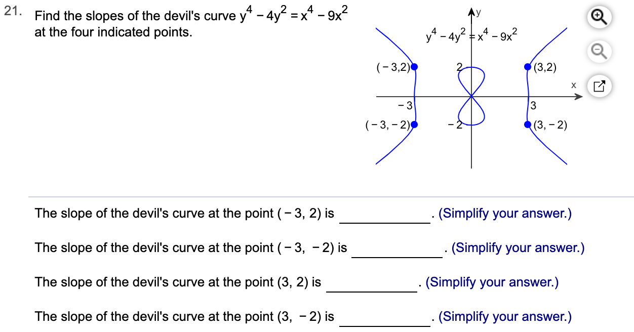 y* - 4y2 =x4 -9x2 21. Find the slopes of the devil's curve at the four indicated points. y4- 4y2 x4-9x2 (3,2) (3,2) х -3 3 (3,-2) (-3, 2) The slope of the devil's curve at the point (-3, 2) is (Simplify your answer.) The slope of the devil's curve at the point (-3, -2) is (Simplify your answer.) The slope of the devil's curve at the point (3, 2) is (Simplify your answer.) The slope of the devil's curve at the point (3, - 2) is . (Simplify your answer.)