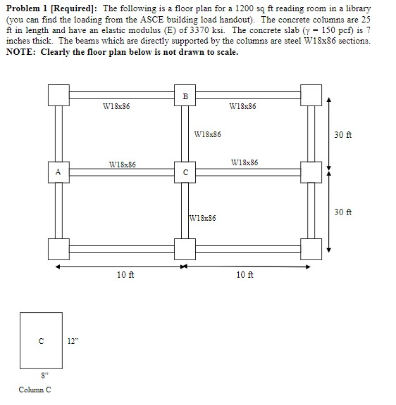 "Problem 1 [Required]: The following is a floor plan for a 1200 są ft reading room in a library (you can find the loading from the ASCE building load handout). The concrete columns are 25 ft in length and have an elastic modulus (E) of 3370 ksi. The concrete slab (y = 150 pcf) is 7 inches thick. The beams which are directly supported by the columns are steel W18x86 sections. NOTE: Clearly the floor plan below is not drawn to scale. w18x86 W18x86 W18x86 30 ft W18x86 W18x86 30 ft W18x86 10 ft 10 ft 12"" 8"" Column C"