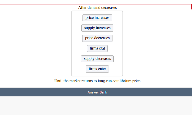 After demand decreases price increases supply increases price decreases firms exit supply decreases firms enter Until the market returns to long-run equilibrium price Answer Bank