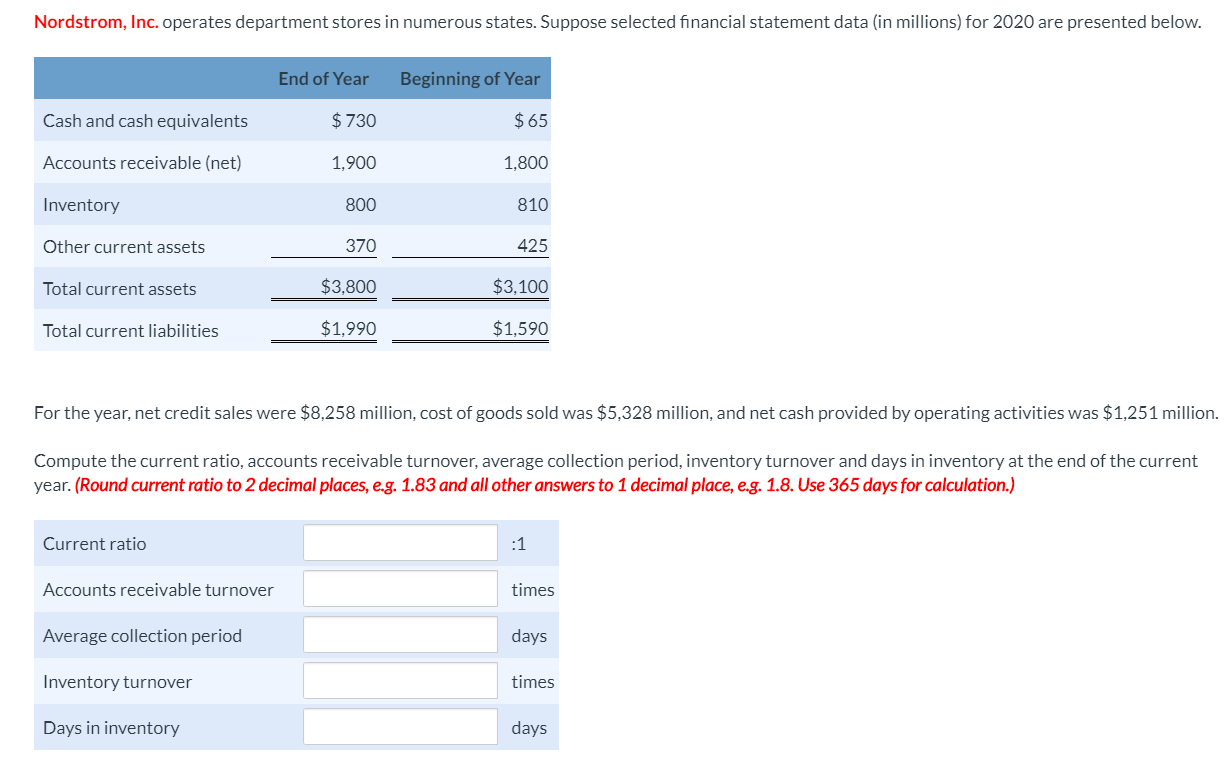 Nordstrom, Inc. operates department stores in numerous states. Suppose selected financial statement data (in millions) for 2020 are presented below. End of Year Beginning of Year $730 $65 Cash and cash equivalents Accounts receivable (net) 1,900 1,800 Inventory 800 810 370 425 Other current assets $3,800 $3,100 Total current assets $1,990 $1,590 Total current liabilities For the year, net credit sales were $8,258 million, cost of goods sold was $5,328 million, and net cash provided by operating activities was $1,251 million. Compute the current ratio, accounts receivable turnover, average collection period, inventory turnover and days in inventory at the end of the current year. (Round current ratio to 2 decimal places, e.g. 1.83 and all other answers to 1 decimal place, e.g. 1.8. Use 365 days for calculation.) Current ratio :1 Accounts receivable turnover times Average collection period days Inventory turnover times Days in inventory days
