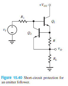 +Vcc ? R1 Q2 R1. Figure 15.40 Short-circuit protection for an emitter follower.