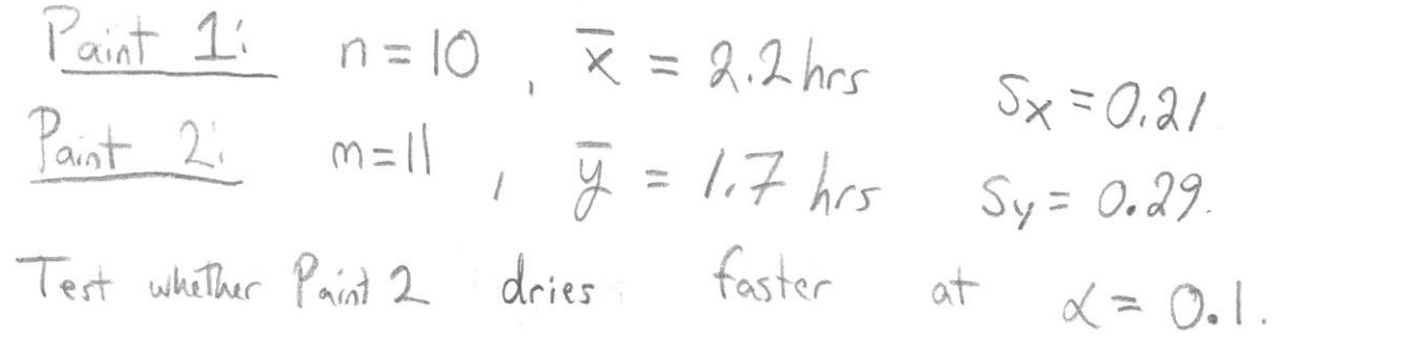 Paint 1 n = 10 = .2 hes Sx=0.a Pant 2 77 hes Sy= 0.29 faster Test wkiher Pant 2 dries at