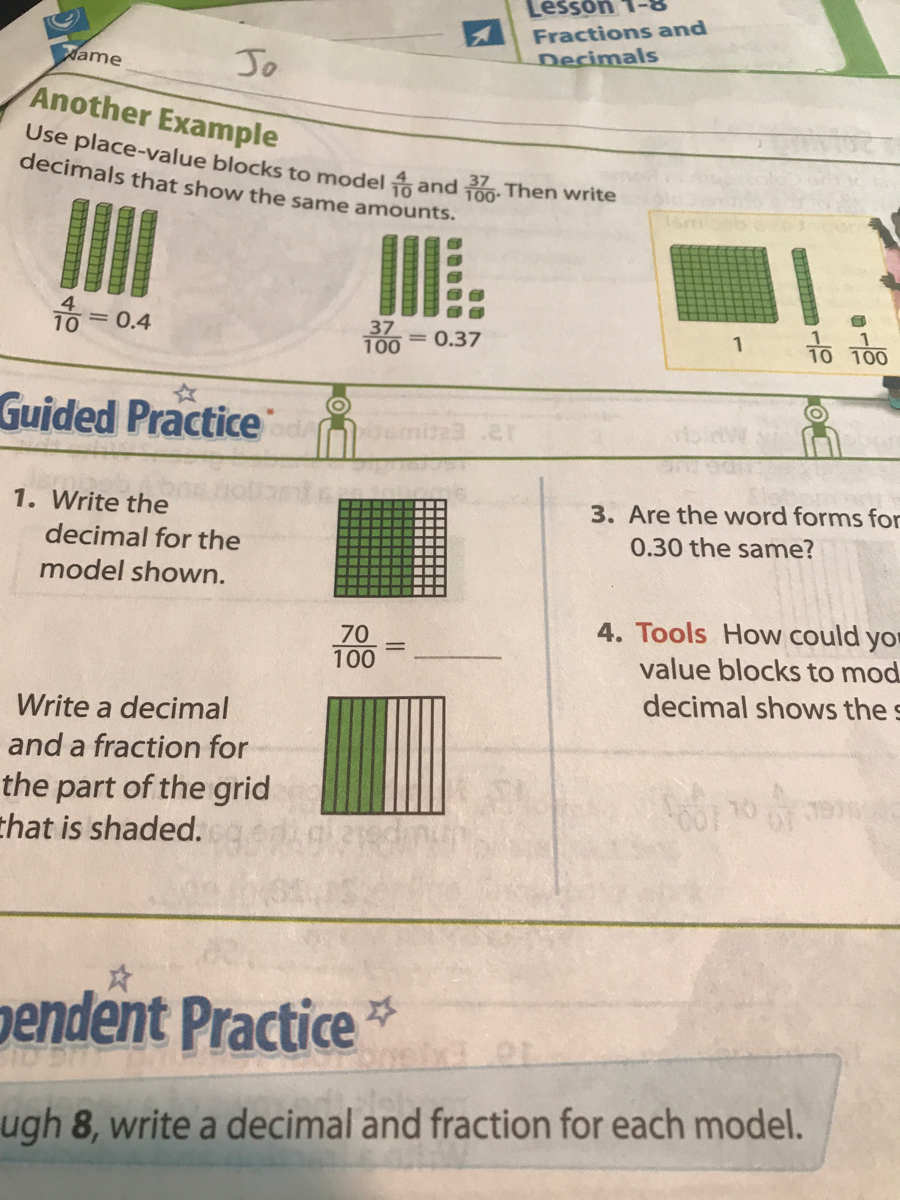 1. Write the decimal for the model shown. 70 100