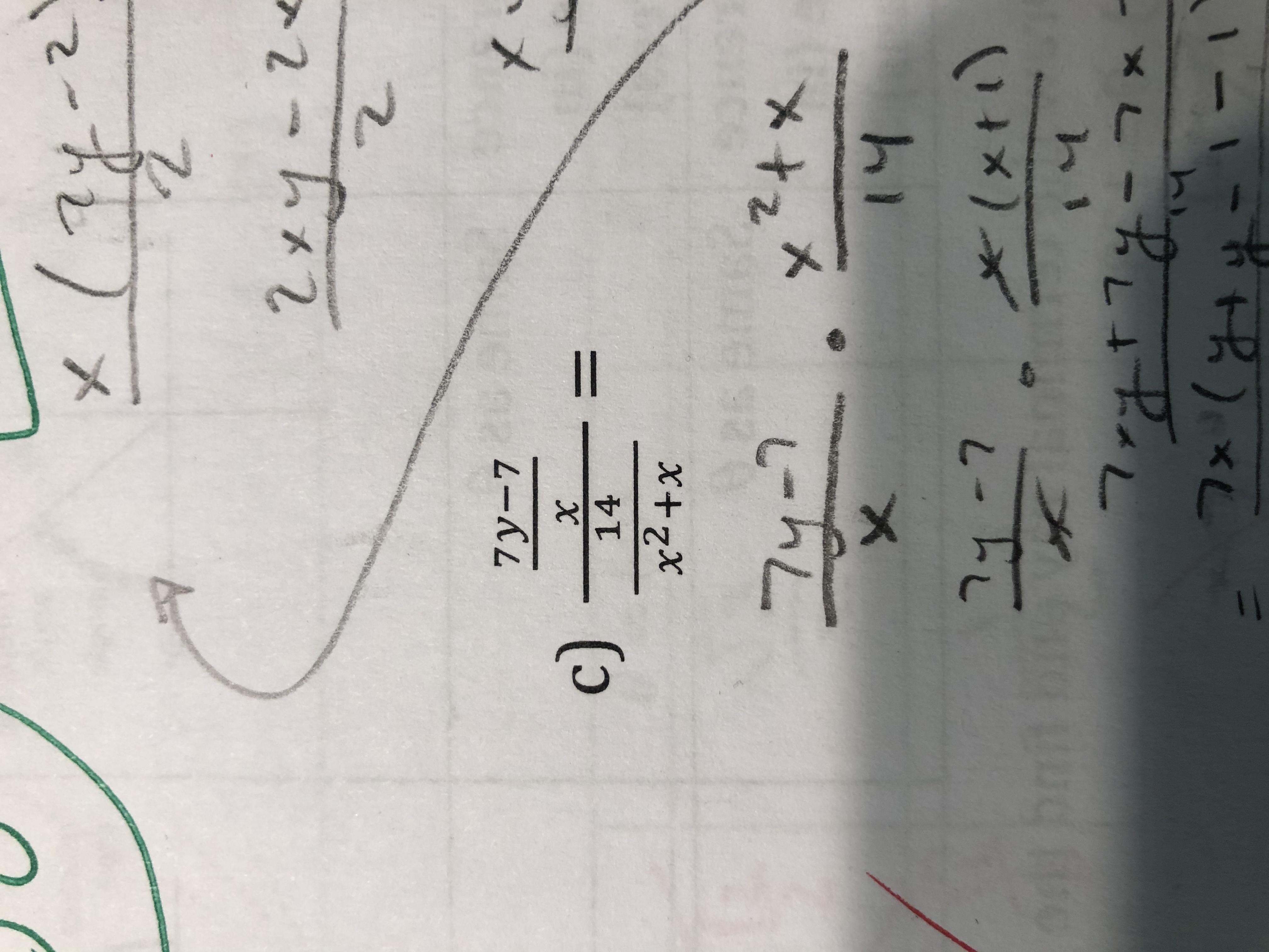 2xy-24 7y-7 c) %3D 14 x2+x 26 74- 7 14 27-7 *(xti) 7x(84-1-