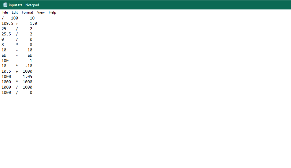 I input.txt - Notepad File Edit Format View Help 100 10 109.5 + 25 25.5 / 1.0 2 10 10 ab ab 100 10 -10 10.5 1000 1000 1.05 1000 1000 1000 1000 1000