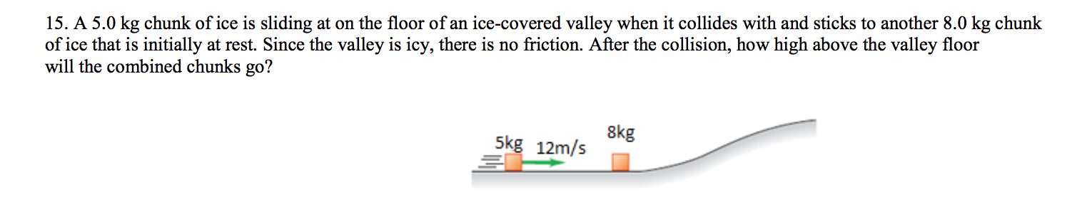 15. A 5.0 kg chunk of ice is sliding at on the floor of an ice-covered valley when it collides with and sticks to another 8.0 kg chunk of ice that is initially at rest. Since the valley is icy, there is no friction. After the collision, how high above the valley floor will the combined chunks go? 8kg 5kg 12m/s