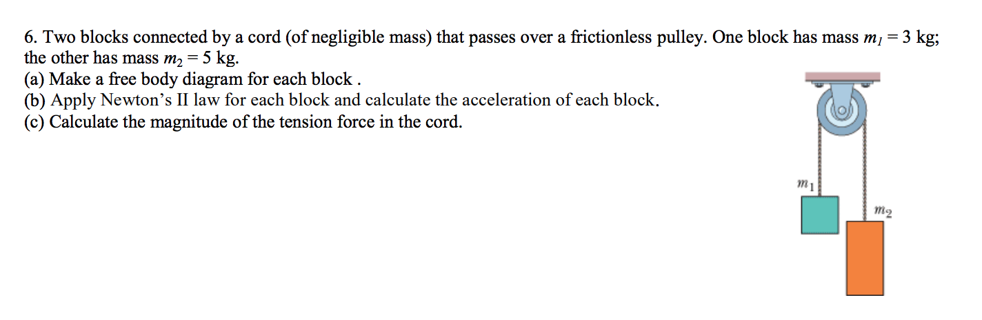 6. Two blocks connected by a cord (of negligible mass) that passes over a frictionless pulley. One block has mass mi = 3 kg; the other has mass m2 = 5 kg. (a) Make a free body diagram for each block . (b) Apply Newton's II law for each block and calculate the acceleration of each block. (c) Calculate the magnitude of the tension force in the cord.