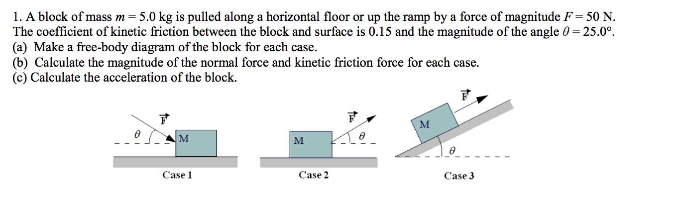 1. A block of mass m = 5.0 kg is pulled along a horizontal floor or up the ramp by a force of magnitude F = 50 N The coefficient of kinetic friction between the block and surface is 0.15 and the magnitude of the angle 0 25.0°. (a) Make a free-body diagram of the block for each case (b) Calculate the magnitude of the normal force and kinetic friction force for each case (c) Calculate the acceleration of the block. F М ө ө  м ө Case 1 Case 2 Case 3