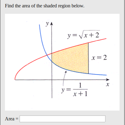 Find the area of the shaded region below. у y =Vx 2 x=2 1 y=- x1 Area