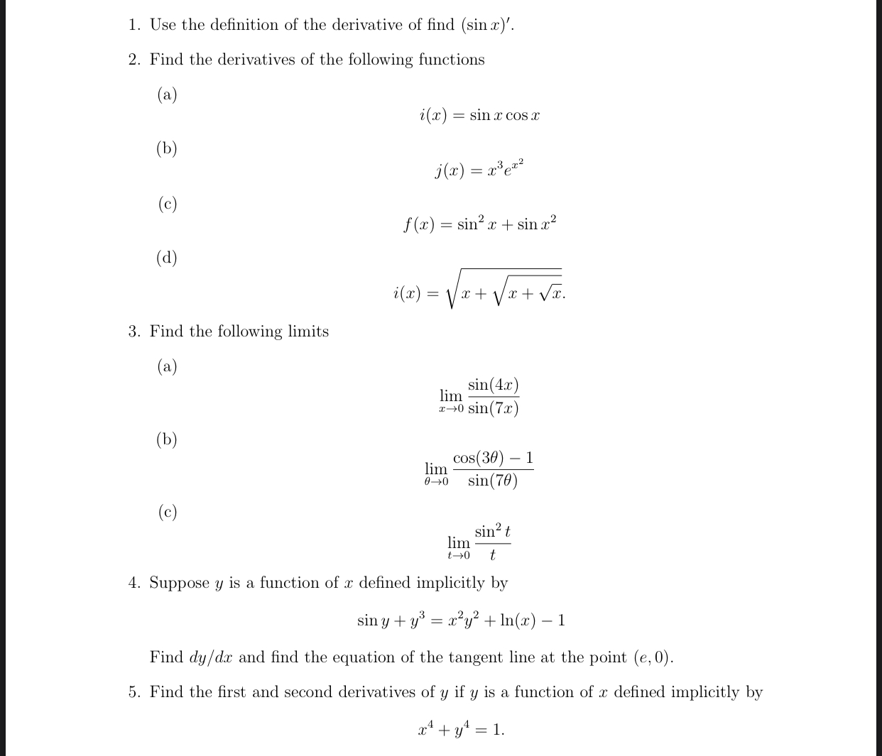 Use the definition of the derivative of find (sin x)'.