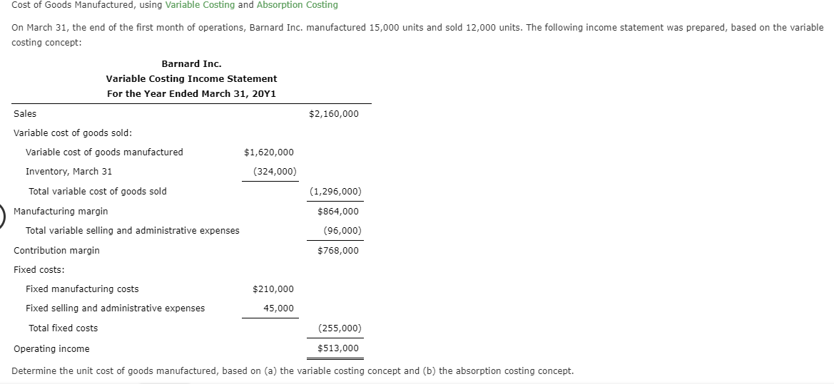 Cost of Goods Manufactured, using Variable Costing and Absorption Costing On March 31, the end of the first month of operations, Barnard Inc. manufactured 15,000 units and sold 12,000 units. The following income statement was prepared, based on the variable costing concept: Barnard Inc. Variable Costing Income Statement For the Year Ended March 31, 20Y1 Sales $2,160,000 Variable cost of goods sold: Variable cost of goods manufactured $1,620,000 Inventory, March 31 (324,000) Total variable cost of goods sold (1,296,000) Manufacturing margin $864,000 Total variable selling and administrative expenses (96,000) Contribution margin $768,000 Fixed costs: Fixed manufacturing costs $210,000 Fixed selling and administrative expenses 45,000 Total fixed costs (255,000) $513,000 Operating income Determine the unit cost of goods manufactured, based on (a) the variable costing concept and (b) the absorption costing concept.