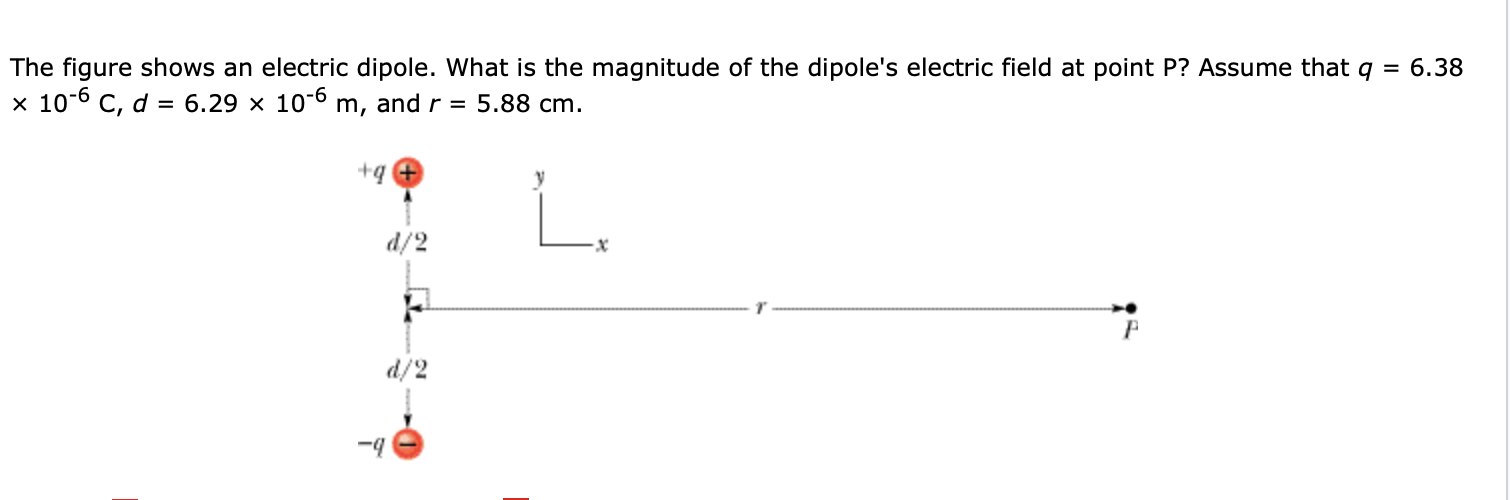 The figure shows an electric dipole. What is the magnitude of the dipole's electric field at point P? Assume that q x 10-6 C, d = 6.29 x 10-6 m, and r = 5.88 cm. = 6.38 L. d/2 d/2 -4