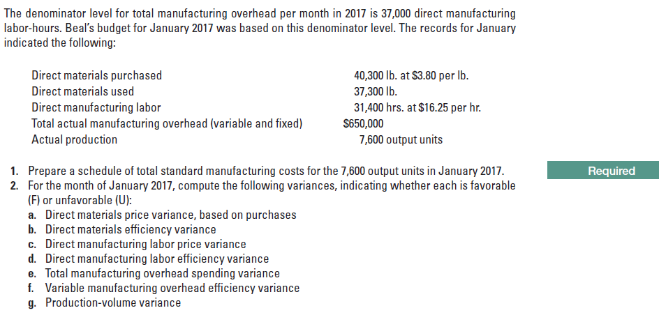 The denominator level for total manufacturing overhead per month in 2017 is 37,000 direct manufacturing labor-hours. Beal's budget for January 2017 was based on this denominator level. The records for January indicated the following: Direct materials purchased 40,300 lb. at $3.80 per Ib. Direct materials used 37,300 lb. Direct manufacturing labor Total actual manufacturing overhead (variable and fixed) Actual production 31,400 hrs. at $16.25 per hr. S650,000 7,600 output units Required 1. Prepare a schedule of total standard manufacturing costs for the 7,600 output units in January 2017. 2. For the month of January 2017, compute the following variances, indicating whether each is favorable (F) or unfavorable (U): a. Direct materials price variance, based on purchases b. Direct materials efficiency variance c. Direct manufacturing labor price variance d. Direct manufacturing labor efficiency variance e. Total manufacturing overhead spending variance f. Variable manufacturing overhead efficiency variance g. Production-volume variance
