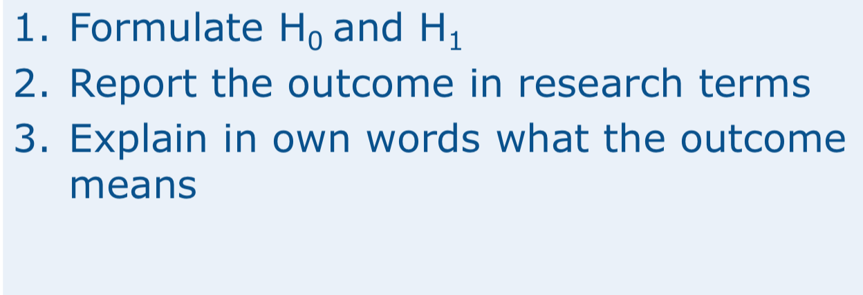 1. Formulate Ho and H1 2. Report the outcome in research terms 3. Explain in own words what the outcome means