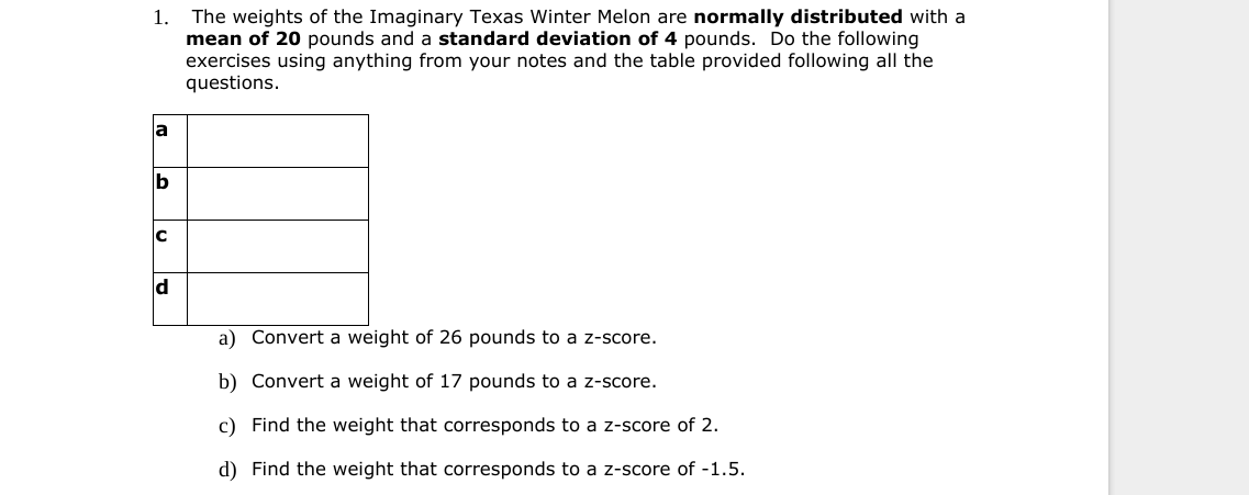 The weights of the Imaginary Texas Winter Melon are normally distributed with a mean of 20 pounds and a standard deviation of 4 pounds. Do the following exercises using anything from your notes and the table provided following all the questions 1. a C a) Convert a weight of 26 pounds to a z-score. b) Convert a weight of 17 pounds to a z-score. c) Find the weight that corresponds to a z-score of 2. d) Find the weight that corresponds to a z-score of -1.5.