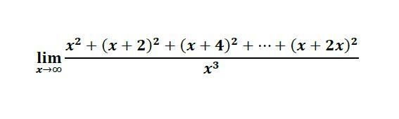 x² + (x + 2)2 + (x + 4)² + .… + (x + 2x)² lim x3 x00