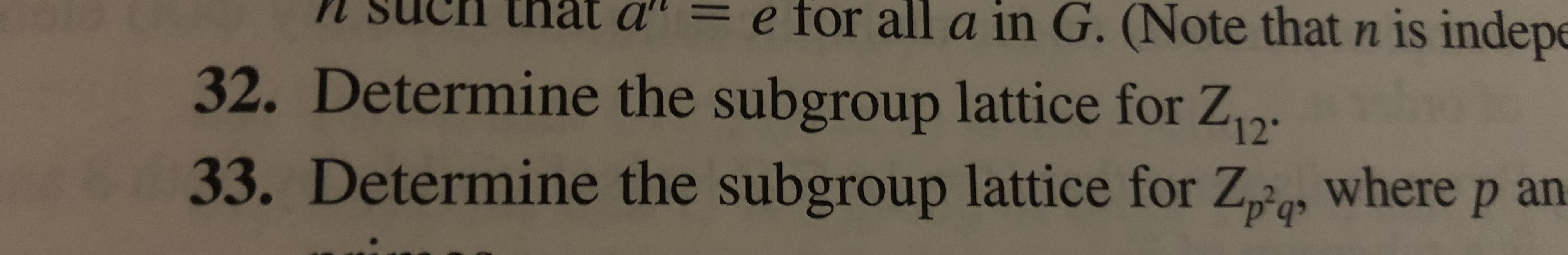 e for all a in G. (Note that n is indep tnat a 32. Determine the subgroup lattice for Z 33. Determine the subgroup lattice for Za where p an
